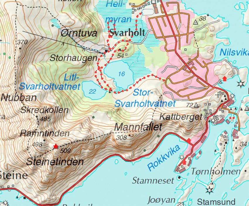 Steindstinden Topo trail map