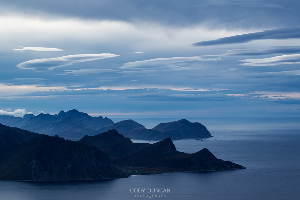 View from summit of Himmeltind, Vestvågøya, Lofoten Islands, Norway