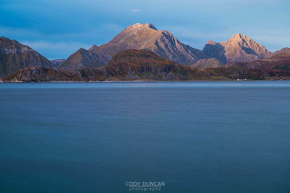 Himmeltinden mountain peak viewed from across Nappstraumen, Lofoten Islands, Norway