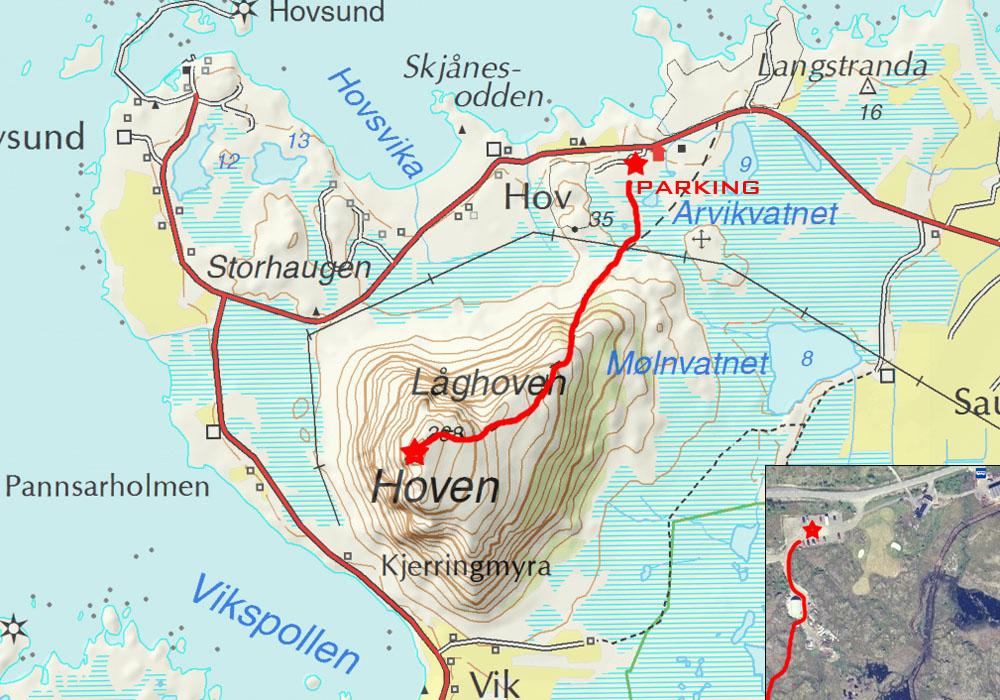 Lofoten Islands Hiking Guide Hoven Gimsøya North - Norway map lofoten islands