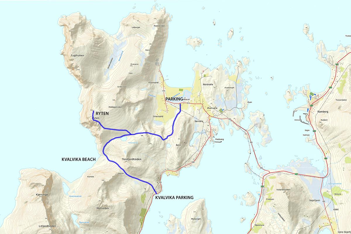 kvalvika lofoten kart Ryten Mountain Hiking Guide   Lofoten Islands Norway | 68 North kvalvika lofoten kart