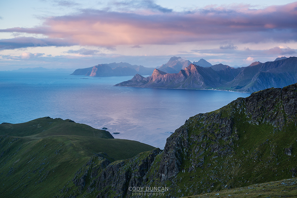 Dramatic coastal mountain landscape viewed from Ryten, Lofoten Islands, Norway