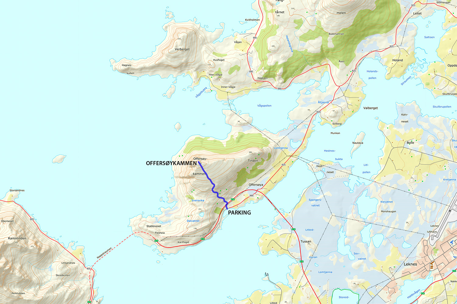 Offersøykammen Hiking Map