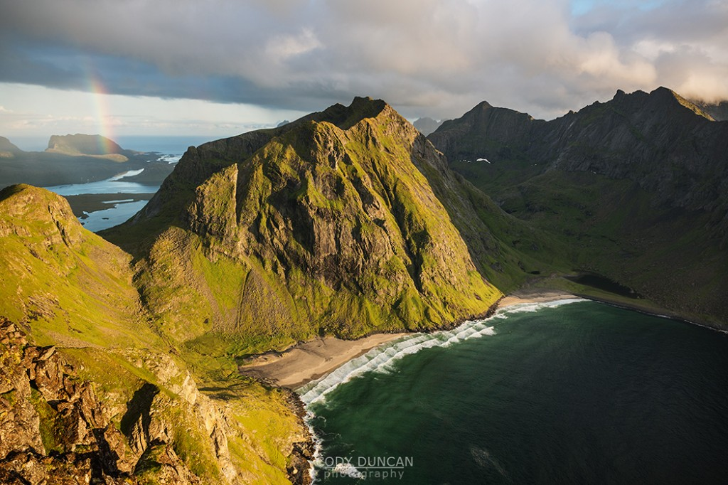 Kvalvika beach from Ryten, Lofoten Islands, Norway