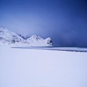 Snow covered Unstad Beach in Winter, Lofoten islands, Norway