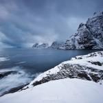 Dramatic scenery at snow covered coastline, Å I Lofoten, Lofoten Islands, Norway