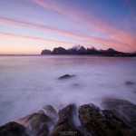 Colorful sunset from Storsandnes Beach, Flakstadoy, Lofoten Islands, Norway