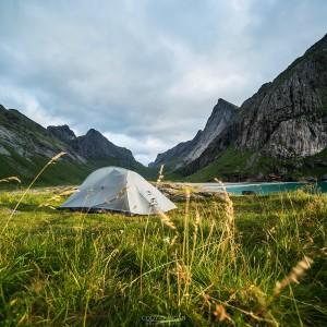 Tent camping at Horseid beach, Lofoten Islands, Norway