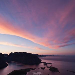 Sunset over Reine and Hamnoy from Reinebringen, Lofoten islands, Norway