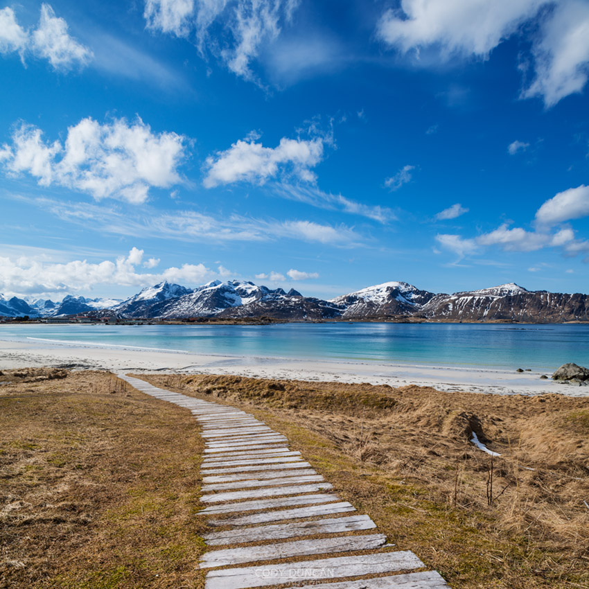 Wooden walkway leading to Ramberg Beach, Ramberg, Flakstadoy, Lofoten Islands, Norway