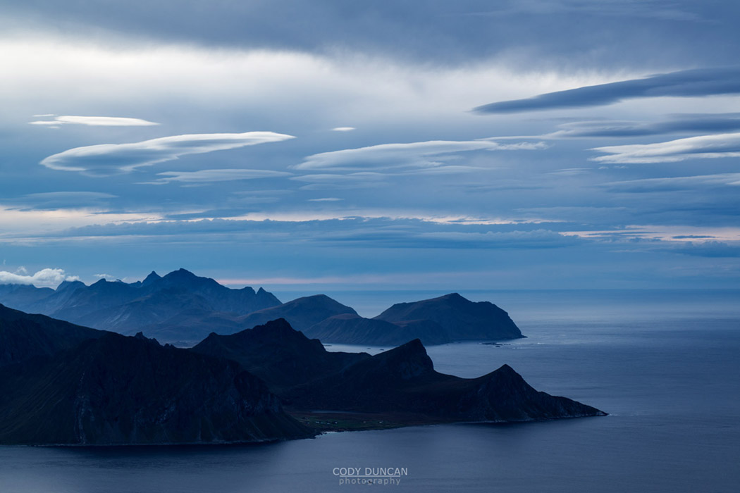 View over Flakstadøy from summit of Himmeltind, Vestvågøya, Lofoten Islands, Norway