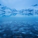 Ice forms on Vatterfjordpollen, Austvågøy, Lofoten Islands, Norway