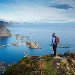 spectacular view over mountains and fjords from Reinebringen, Lofoten islands, Norway