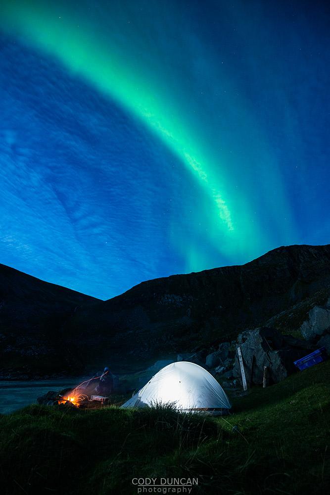 Northern Lights Kvalvika Beach Lofoten