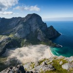 Bunes beach from Helvetestind, Lofoten Islands, Norway