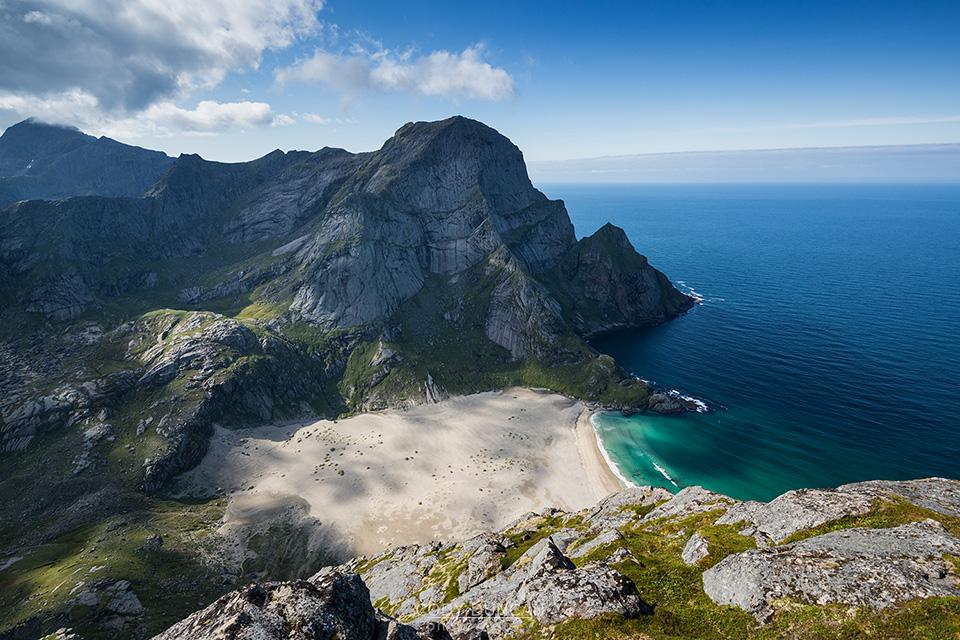 Bunes beach from Helvetestind, Lofoten Islands, Norway
