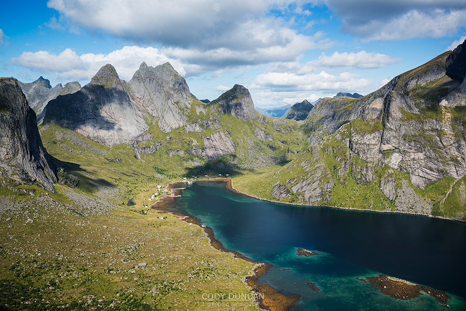 Kjerkfjord from Helvetestind, Lofoten Islands, Norway