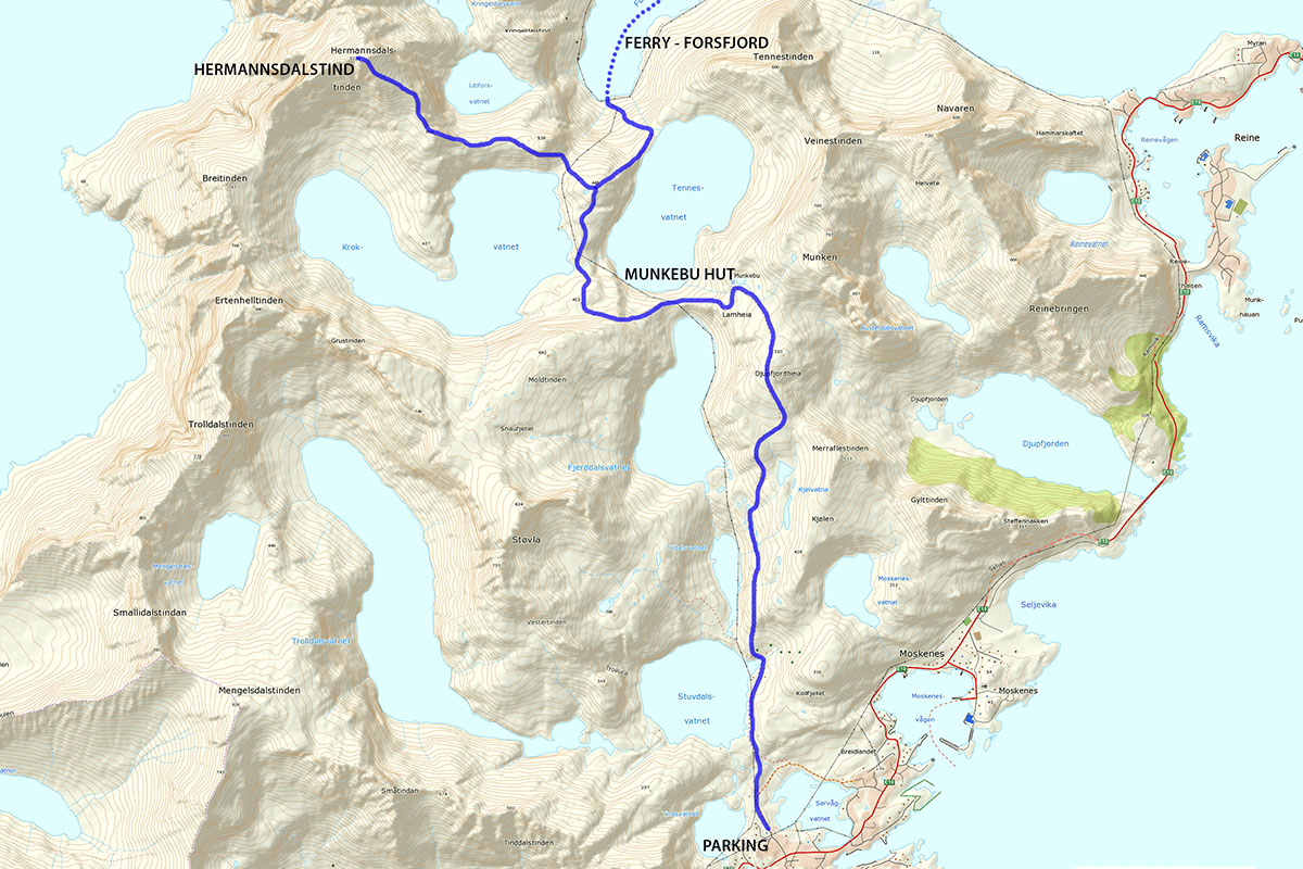 Hermannsdalstind hiking map