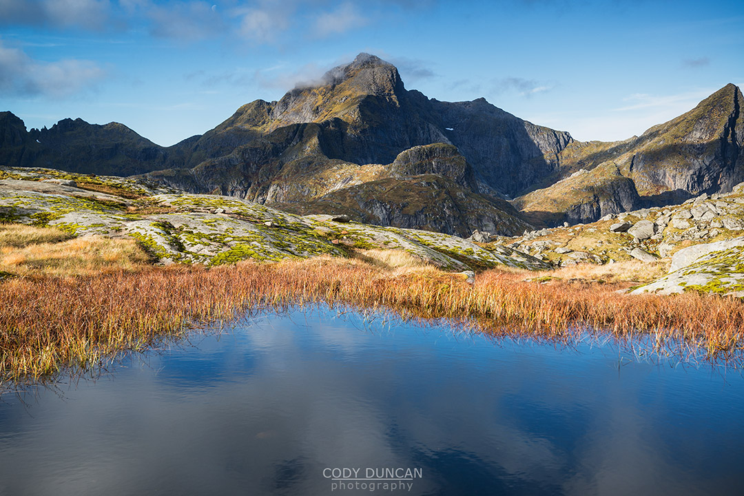Hermannsdalstinden mountain peak in Autumn, Moskenesøya, Lofoten Islands, Norway