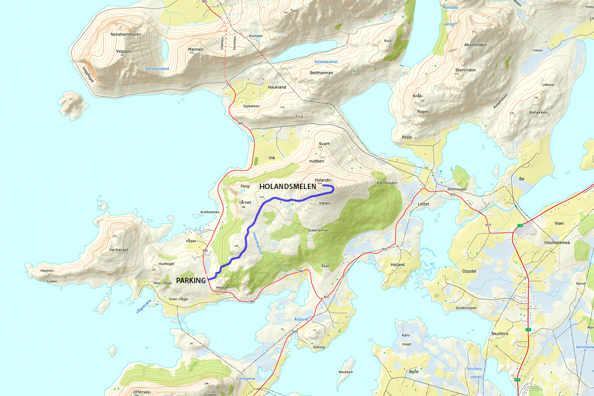 Holandsmelen HIking Map