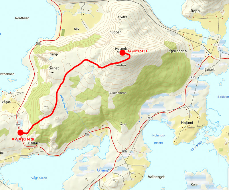 Holandsmelen hiking map Lofoten Islands Norway