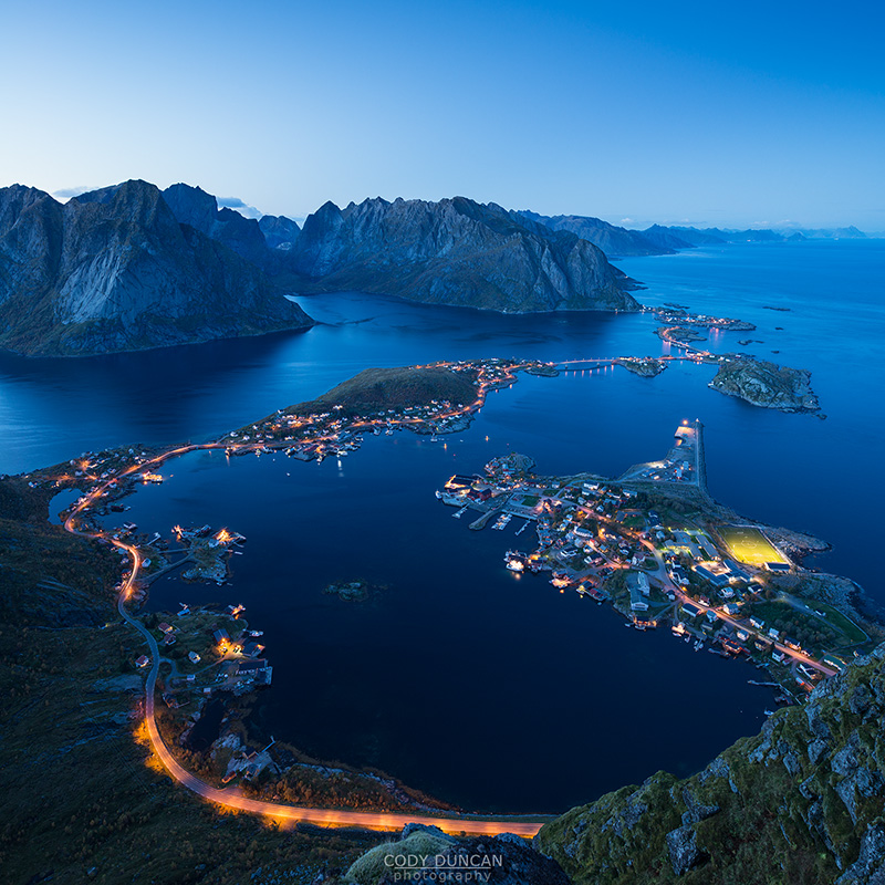 Twilight view from Reinebringen over Reine, Lofoten Islands, Norway