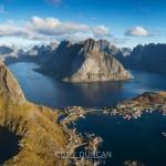 View over Reine and Fjord landscape from summit of Reinebringen, Moskenesoy, Lofoten Islands, Norway