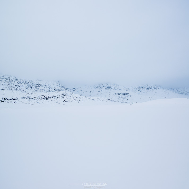 Snow covered winter landscape, Farstad, Vestvågøy, Lofoten Islands, Norway