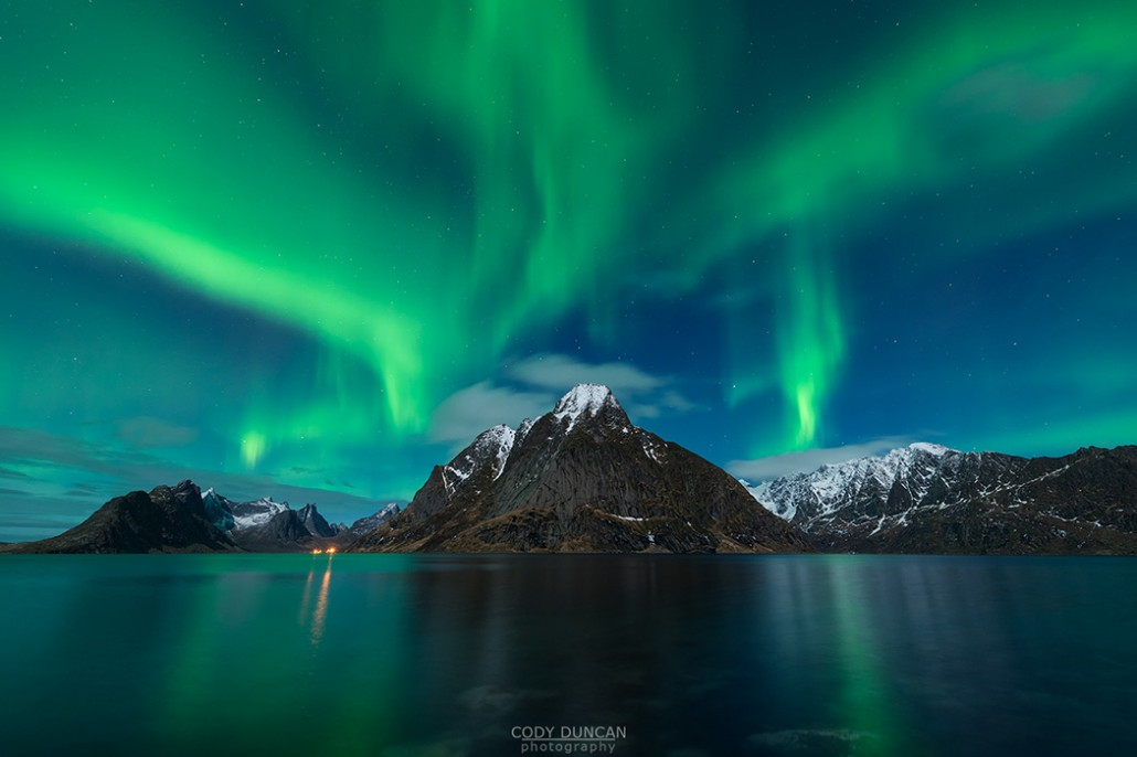 Northern Lights Over Olstind Lofoten Islands Norway