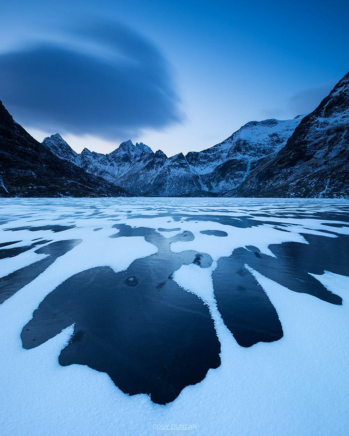 Lake Agvatnet in winter, Moskenesoy, Lofoten Islands, Norway