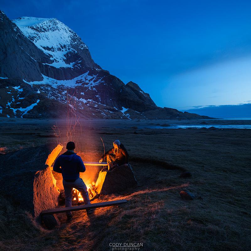 Campfire at Bunes Beach, Moskenesoy, Lofoten Islands, Norway