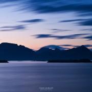 Summer twilight over mountains of Lofoten islands, Stamsund, Norway