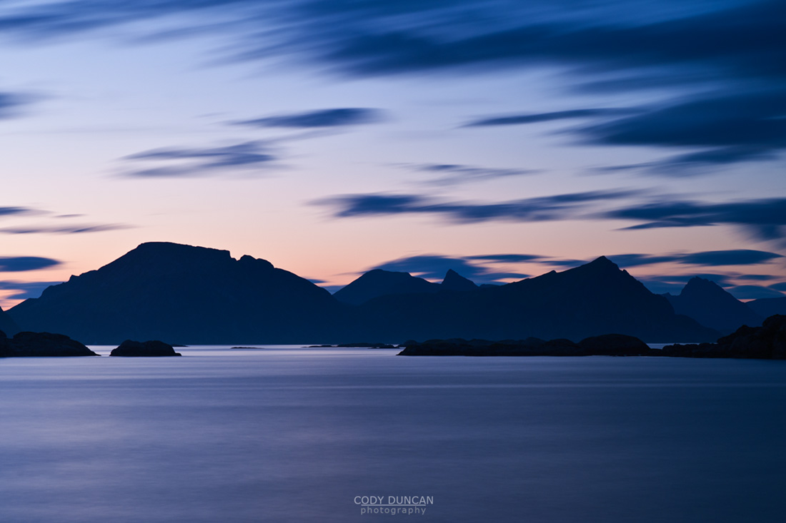 Summer twilight over mountains of Lofoten islands, Stamsund, Norway