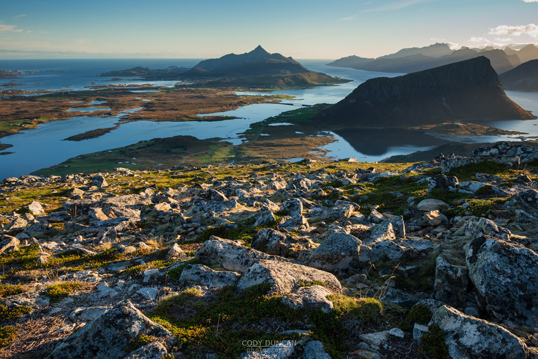 View from rocky summit of Holandsmelen mountain peak, Vestvagoy, Lofoten Islands, Norway