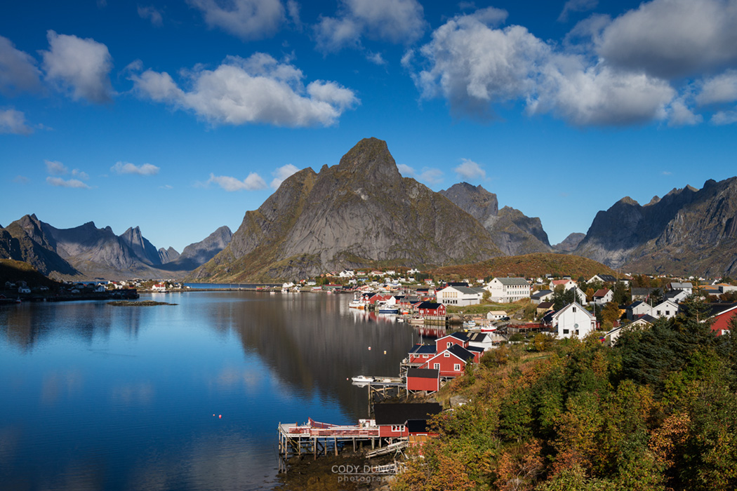 View of small fishing village of Reine on sunny autumn day, Moskenesoy, Lofoten Islands, Norway