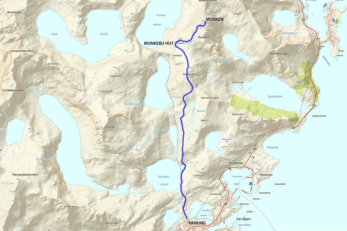 Munken hiking map