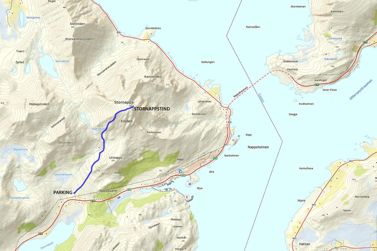 stornappstind hiking map
