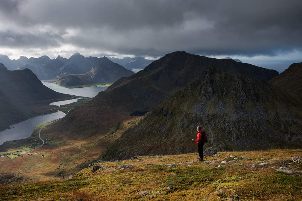 Hiking Stornappstind, Lofoten Islands, Norway