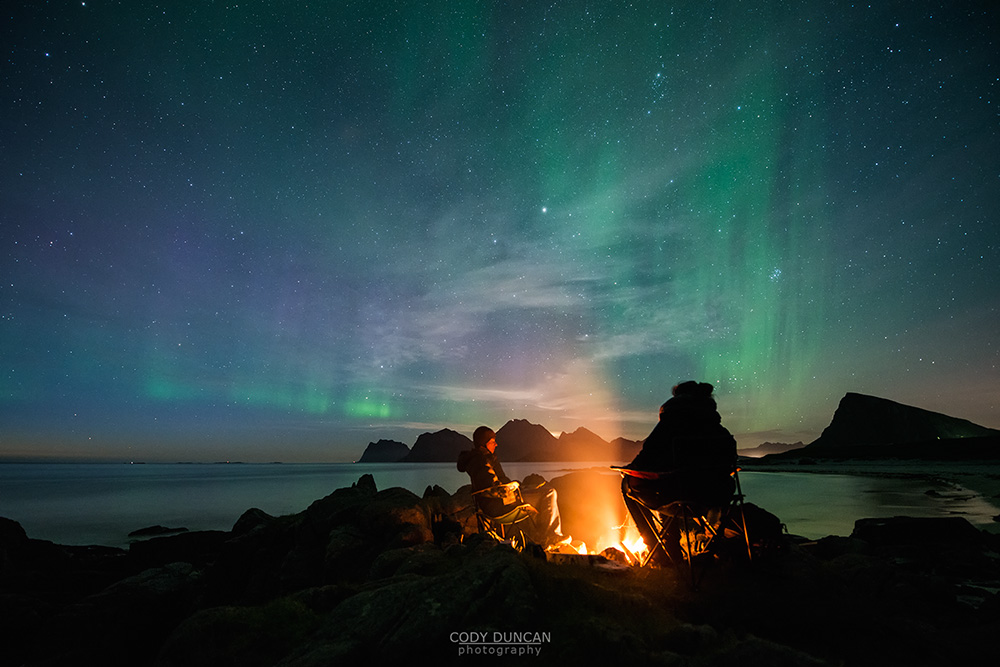 Campfire and Northern Lights, Lofoten Islands, Norway