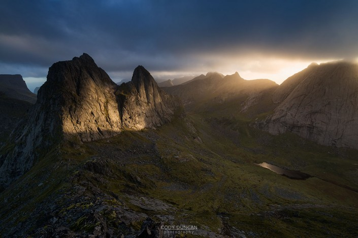Sunset over Krakhammartind from Markan, Lofoten Islands, Norway