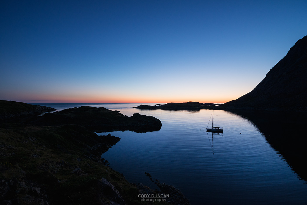 Sailboat Anchorage in Buvågen Bay at Helle, Lofoten Islands, Norway