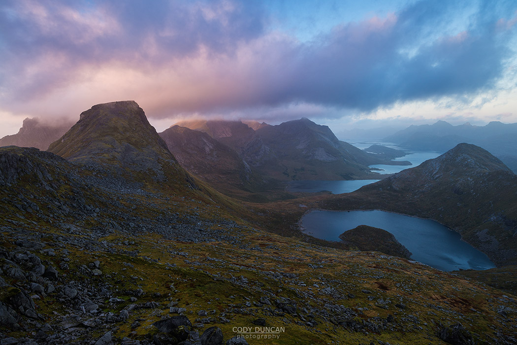 Sunset over Branntuva, Lofoten Islands, Norway