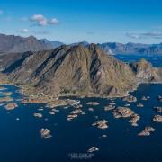 Aerial view over Steine, Vestvagoy, Lofoten Islands, Norway