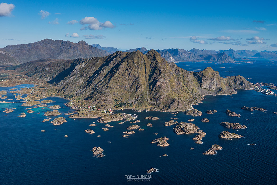 Aerial view over Steine, Vestvagoy, Lofoten Islands, Norway