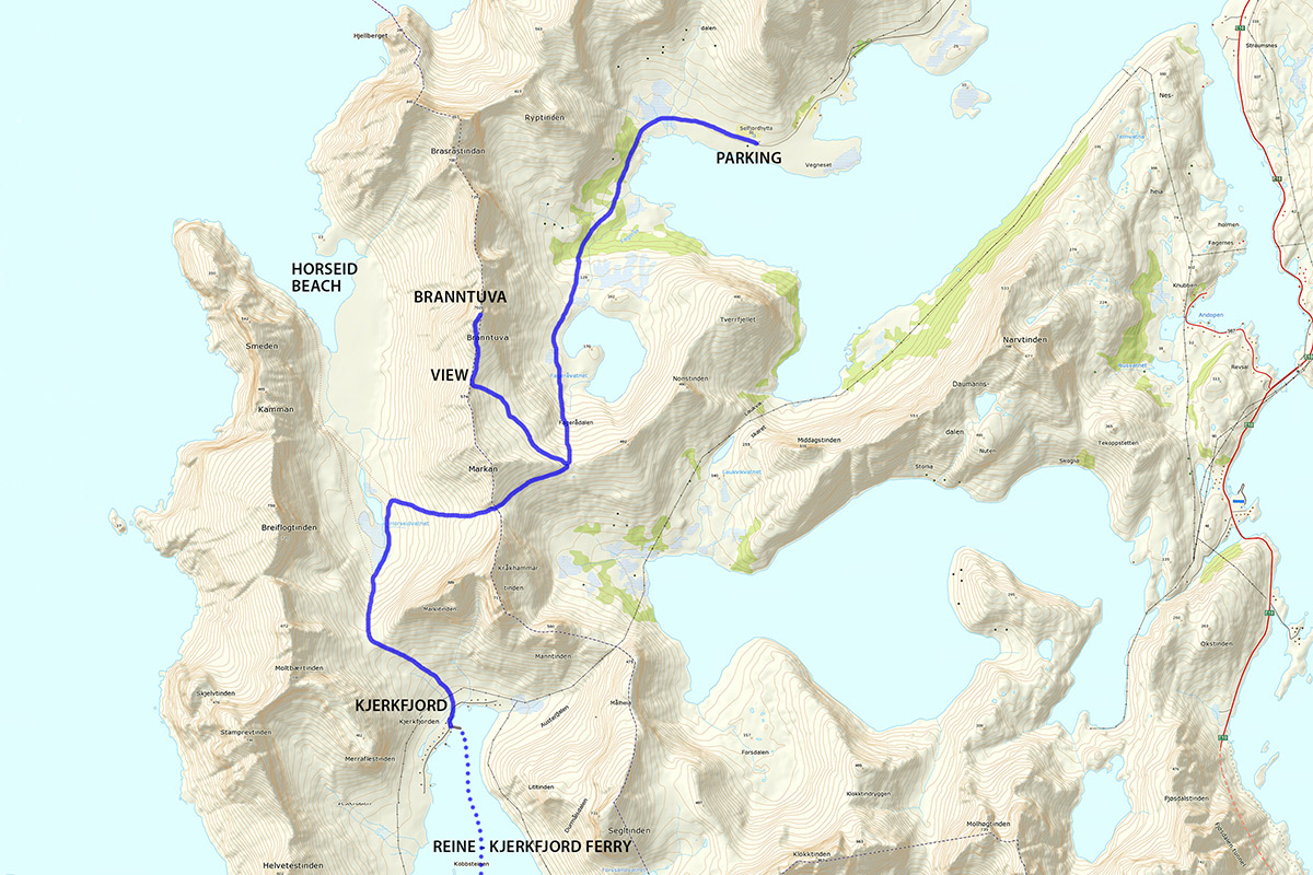 Branntuva Hiking Map