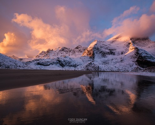 Winter sunrise at bunes beach, Lofoten Islands, Norway