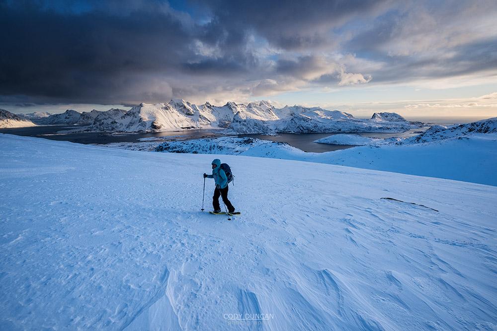 Ryten Winter Hiking, Lofoten Islands, Norway