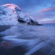Bunes beach in Winter, Lofoten Islands, Norway