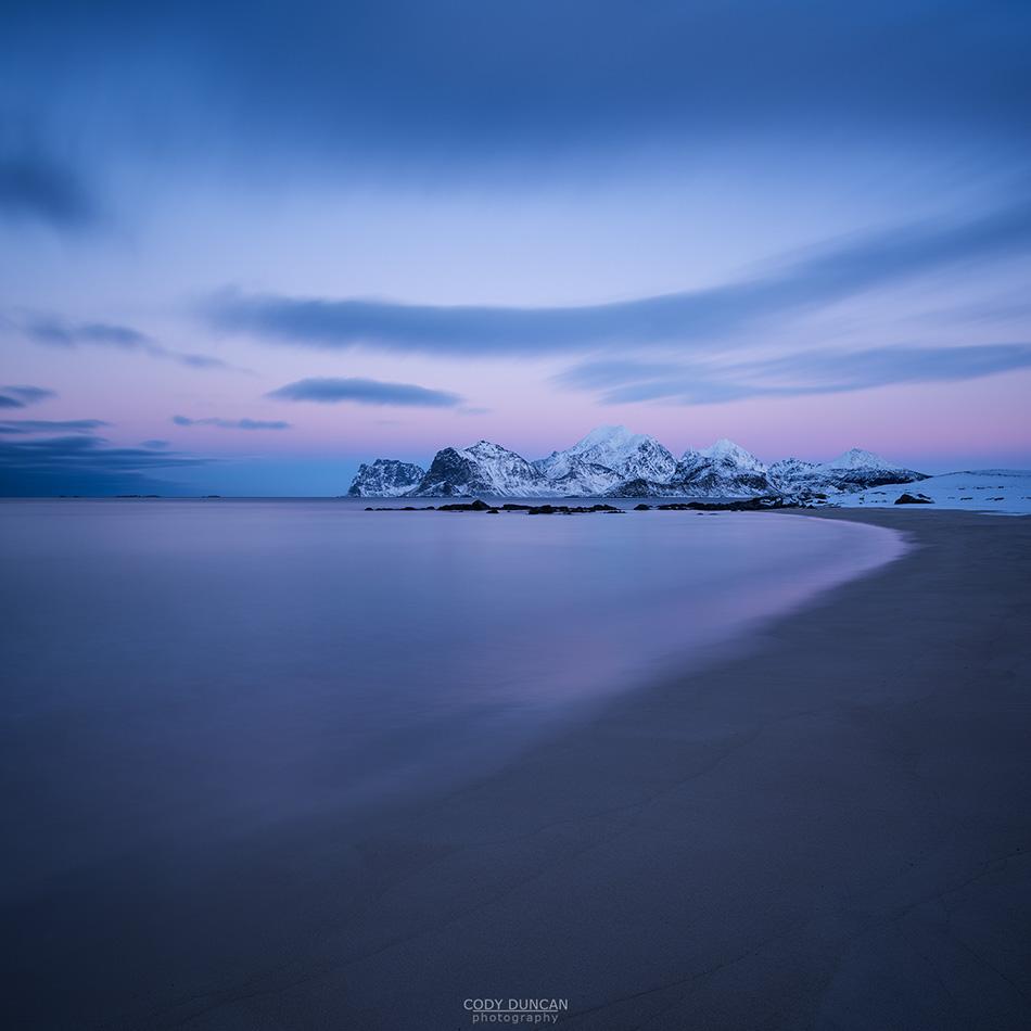 Storsandnes beach in winter, Lofoten Islands, Norway
