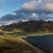 Mountain view over Unstad beach, Vestvågøy, Lofoten Islands, Norway